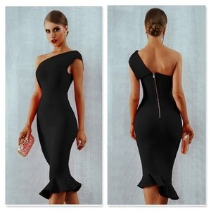 Bandage Asymmetrical Midi Dress in Black